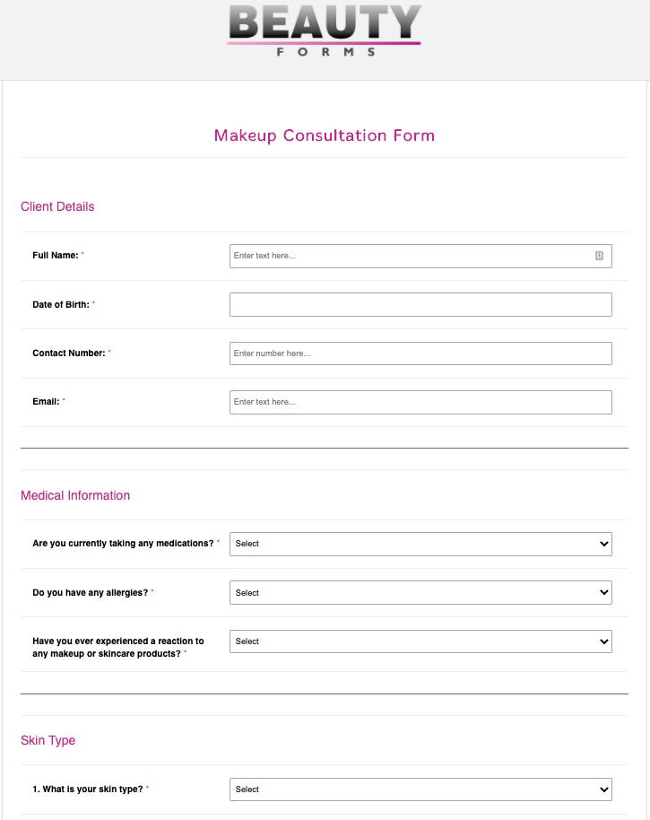 Makeup Consultation Form