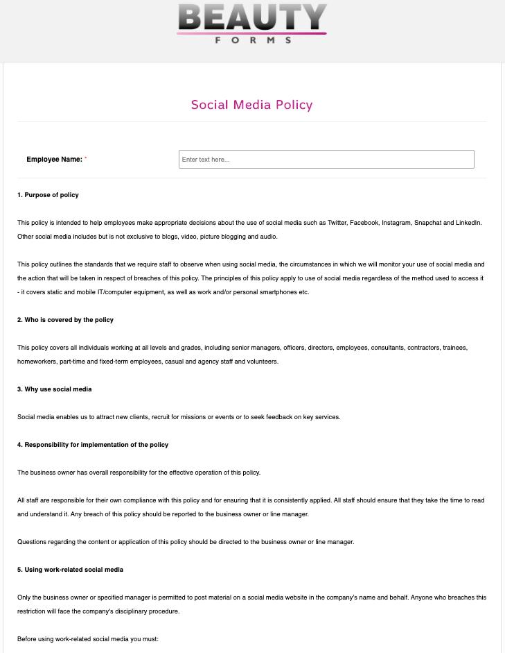Social Media Policy Form