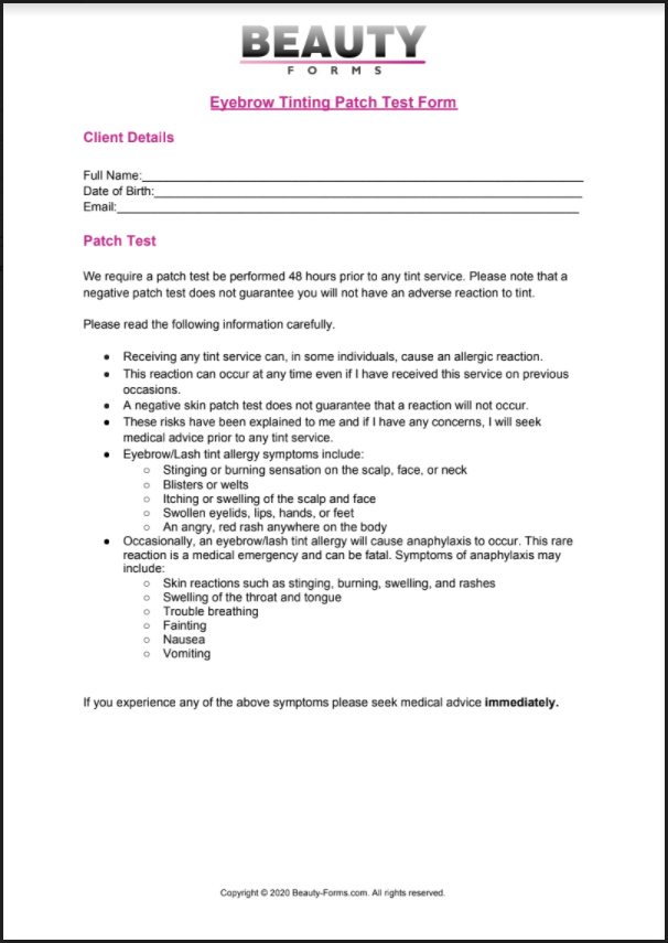 Eyebrow Tinting Patch Test PDF