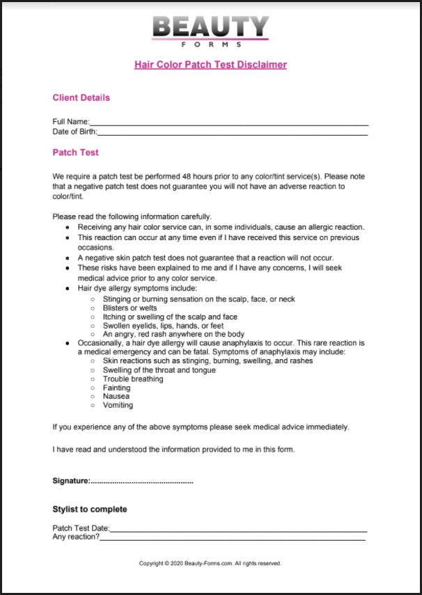 Hair Color Patch Test Disclaimer PDF