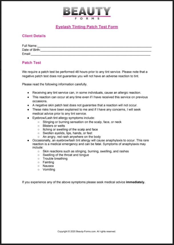 Eyelash Tinting Patch Test PDF