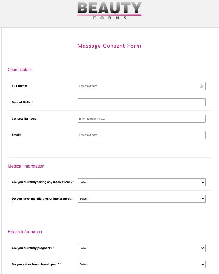 Massage Consent Form